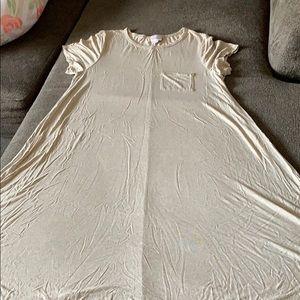 Medium LuLaRoe Carly Oatmeal Grey Dress
